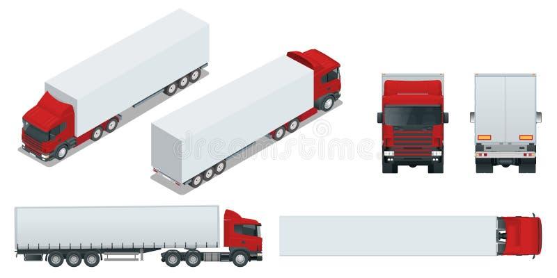 Remorque de camion avec le récipient Voiture pour le transport de marchandises Cargaison fournissant le vecteur de calibre de véh illustration stock