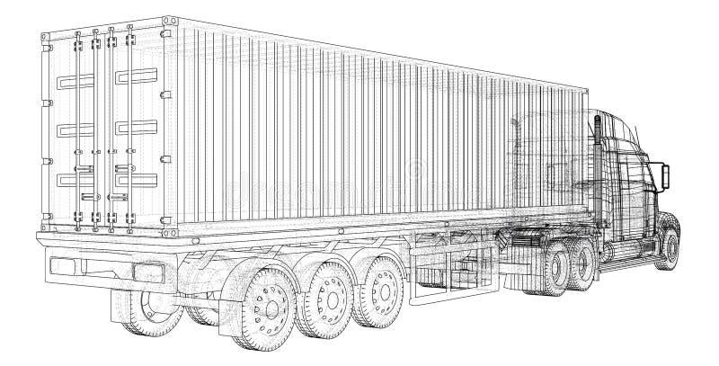 Remorque de camion de cargaison Fil-cadre Format EPS10 Rendu de vecteur de 3d illustration de vecteur