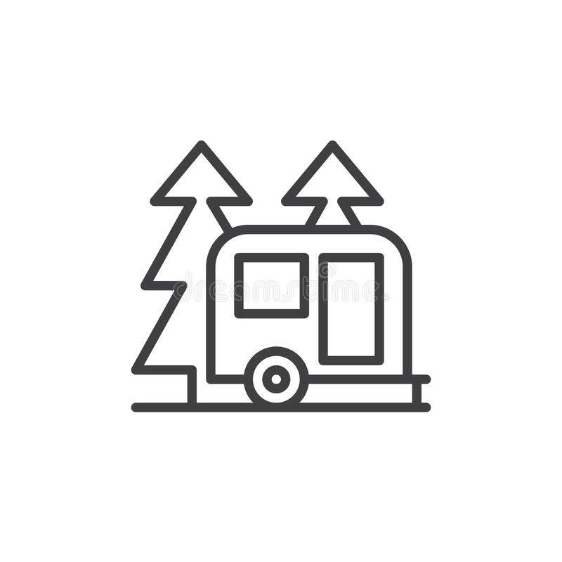 Remorque de campeur de voyage dans la ligne icône, signe de forêt de vecteur d'ensemble illustration stock