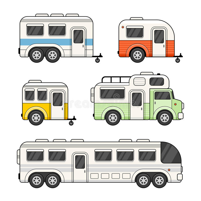 Remorque de camping de caravane réglée sur le fond blanc Vecteur illustration de vecteur
