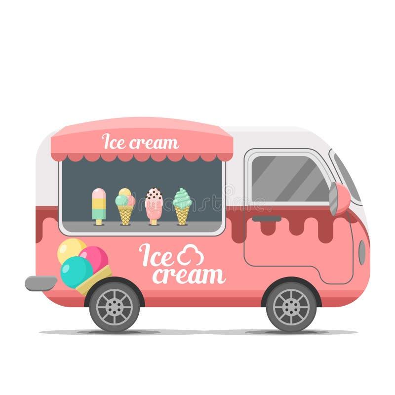 Remorque de caravane de vecteur de nourriture de rue de crème glacée  illustration stock