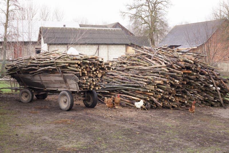 Remorque de chariot démodé coupé d'agriculteurs de bois de chauffage chez Poland& x27 ; la vie rurale de campagne de s photos libres de droits