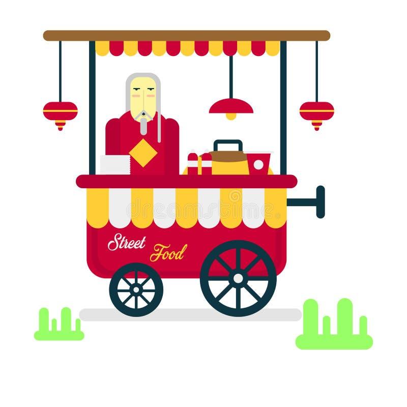 Remorque de nourriture de rue avec le vendeur vendant les saucisses chaudes d'isolement illustration libre de droits