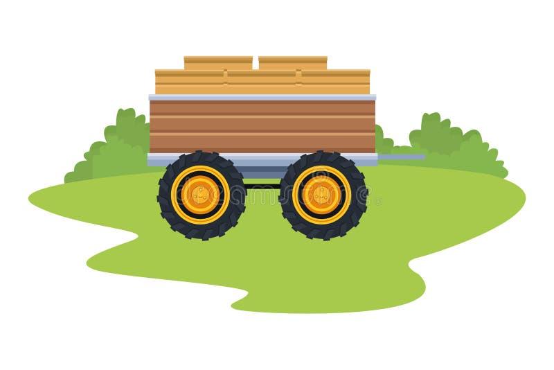 Remorque de tracteur en bois illustration stock