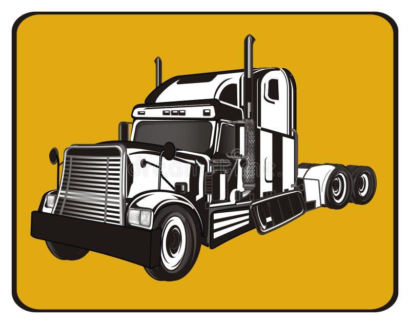 Remorque et signe jaune illustration de vecteur
