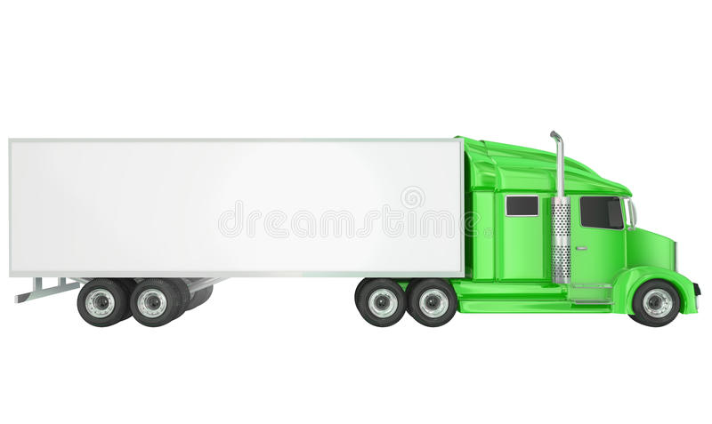 Remorque vide de l'espace de copie de camion de Wheeler Class 8 du vert 18 illustration libre de droits