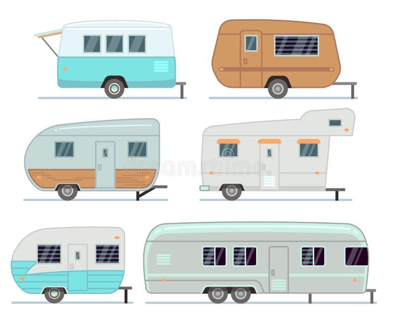 Remorques de camping de rv, caravane résidentielle de voyage, ensemble de vecteur de caravane d'isolement illustration de vecteur