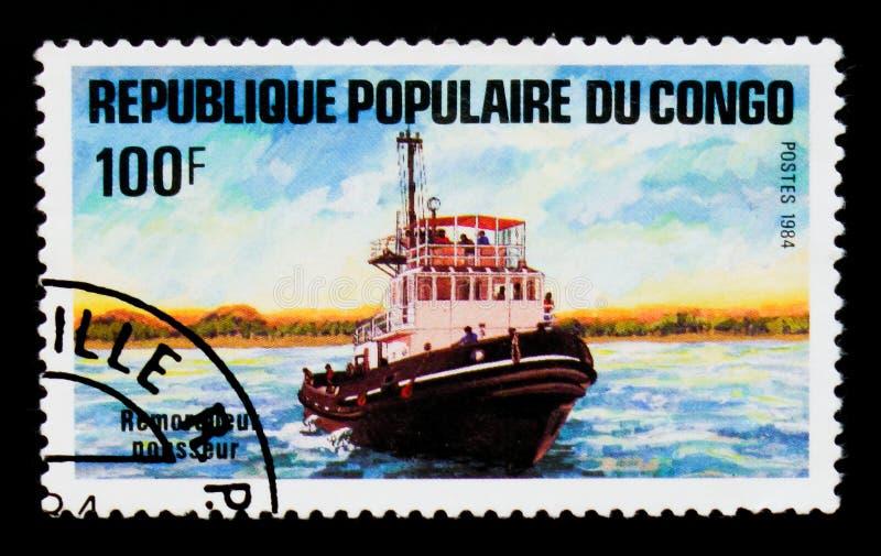 Remorqueur, bateaux sur le serie du fleuve Congo, vers 1984 image stock