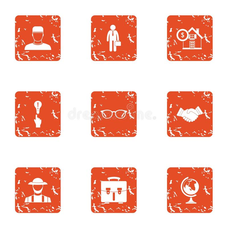 Remortgage the house icons set, grunge style vector illustration