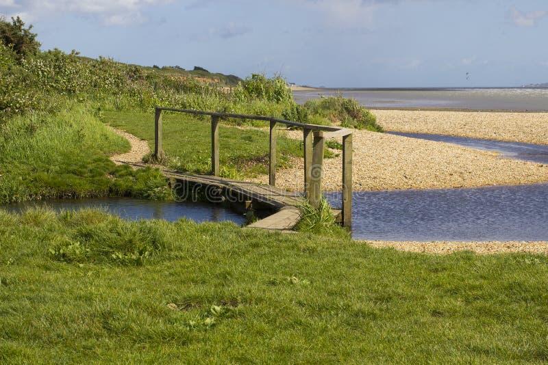 Remote напудрил пляж раковины на воде Саутгемптона в конце пути уздечки майны крюка около общего Англии Titchfield стоковые фото