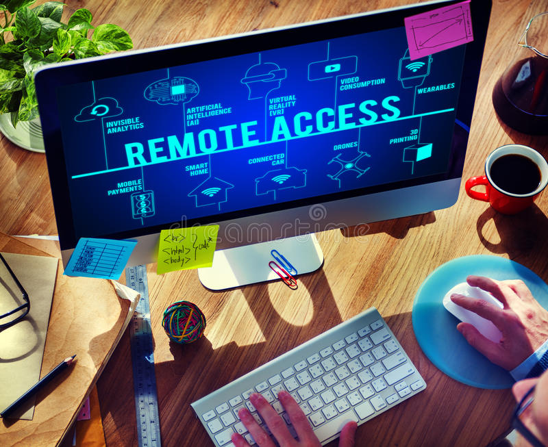Remote Access Connected Drones Technology Concept. People Making Remote Access Connected Drones Technology stock images