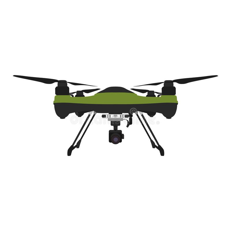 Remote aerial drone with a camera taking photography or video recording stock illustration