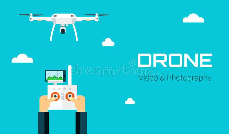 Remote aerial drone with a camera taking photography or video recording . Vector art on isolated background. Flat design. royalty free illustration