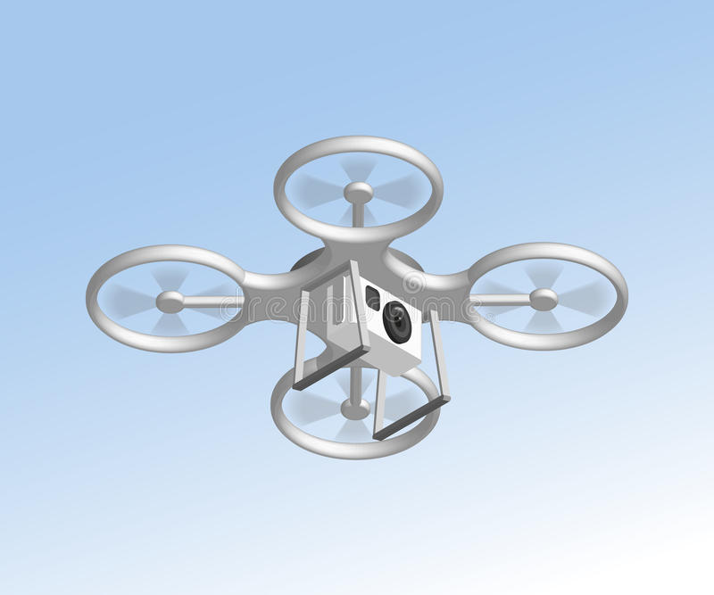 Remote air drone with camera. Isomertic view