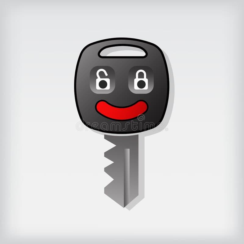 Remote car key icon logo with happy face. Vector car key icon logo with happy face vector illustration