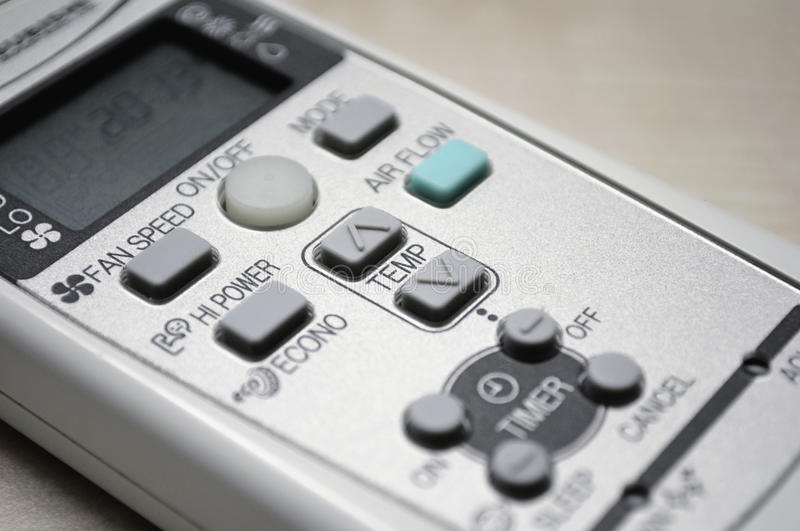 Remote control for an air conditioner stock photography