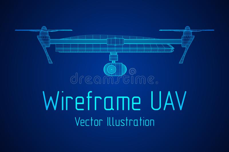 Remote control air drone. Dron flying with action video camera. Wireframe low poly mesh vector illustration vector illustration
