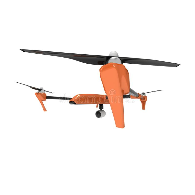 Remote control air drone. Dron flying. 3d render isolated on white stock illustration