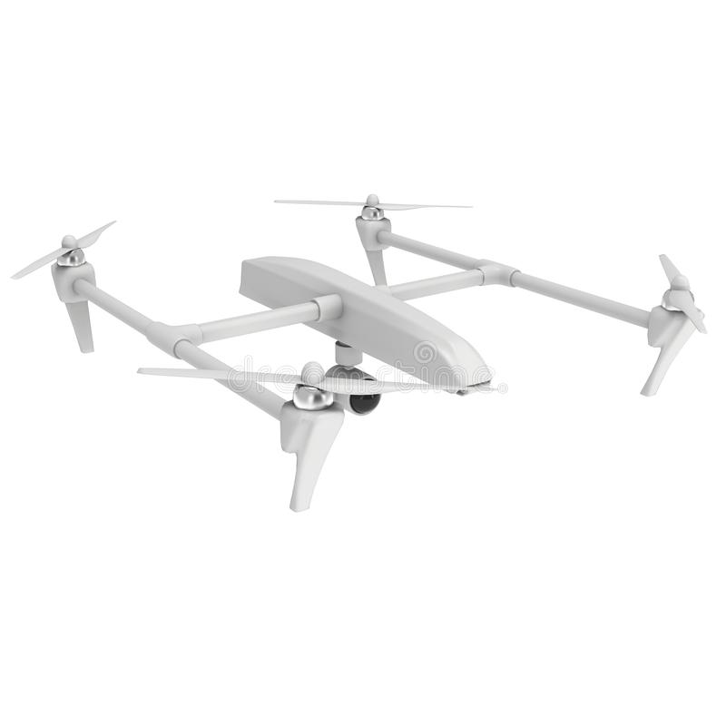 Remote control air drone. Dron flying. 3d render isolated on white vector illustration