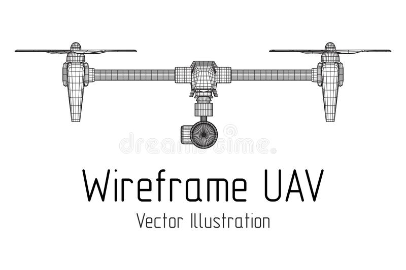 Remote control air drone. Dron flying with action video camera. Wireframe low poly mesh vector illustration royalty free illustration