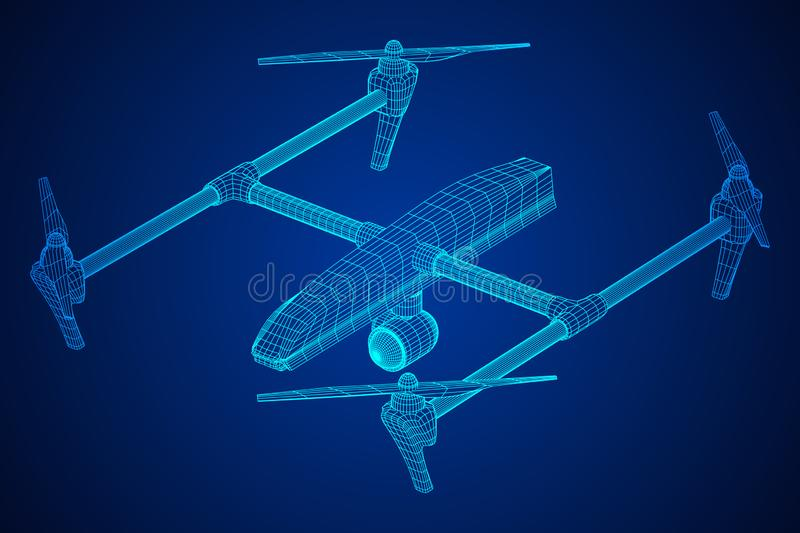 Remote control air drone. Dron flying with action video camera. Wireframe low poly mesh vector illustration stock illustration
