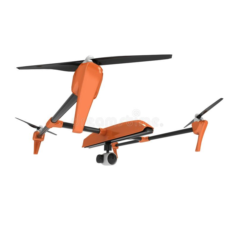 Remote control air drone. Dron flying. 3d render isolated on white royalty free illustration