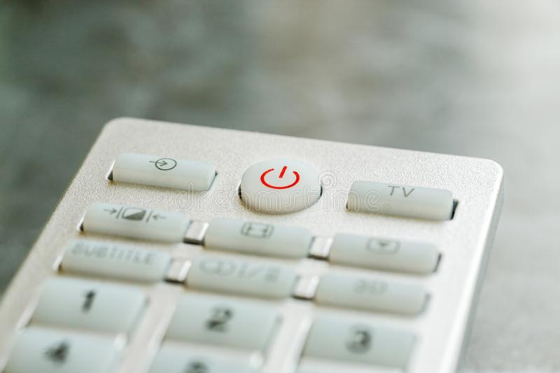 Remote control buttons macro shot, shallow depth of field stock image