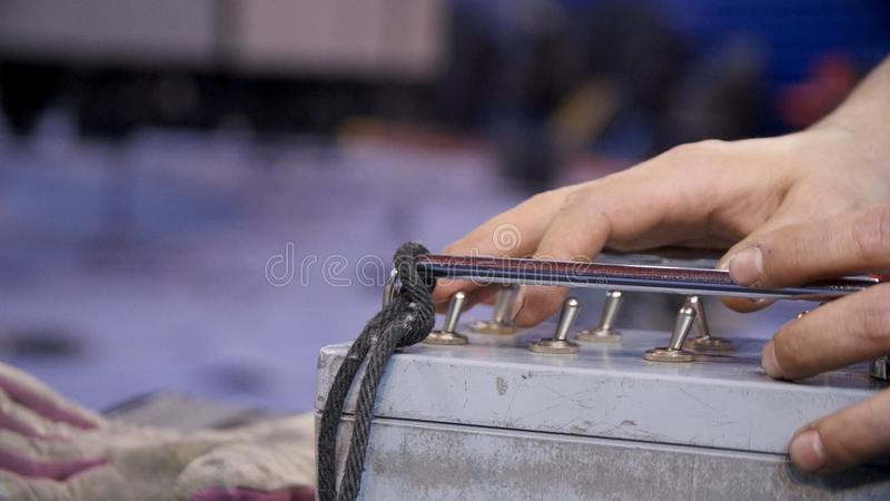 Remote control equipment at the factory and hand working royalty free stock photo