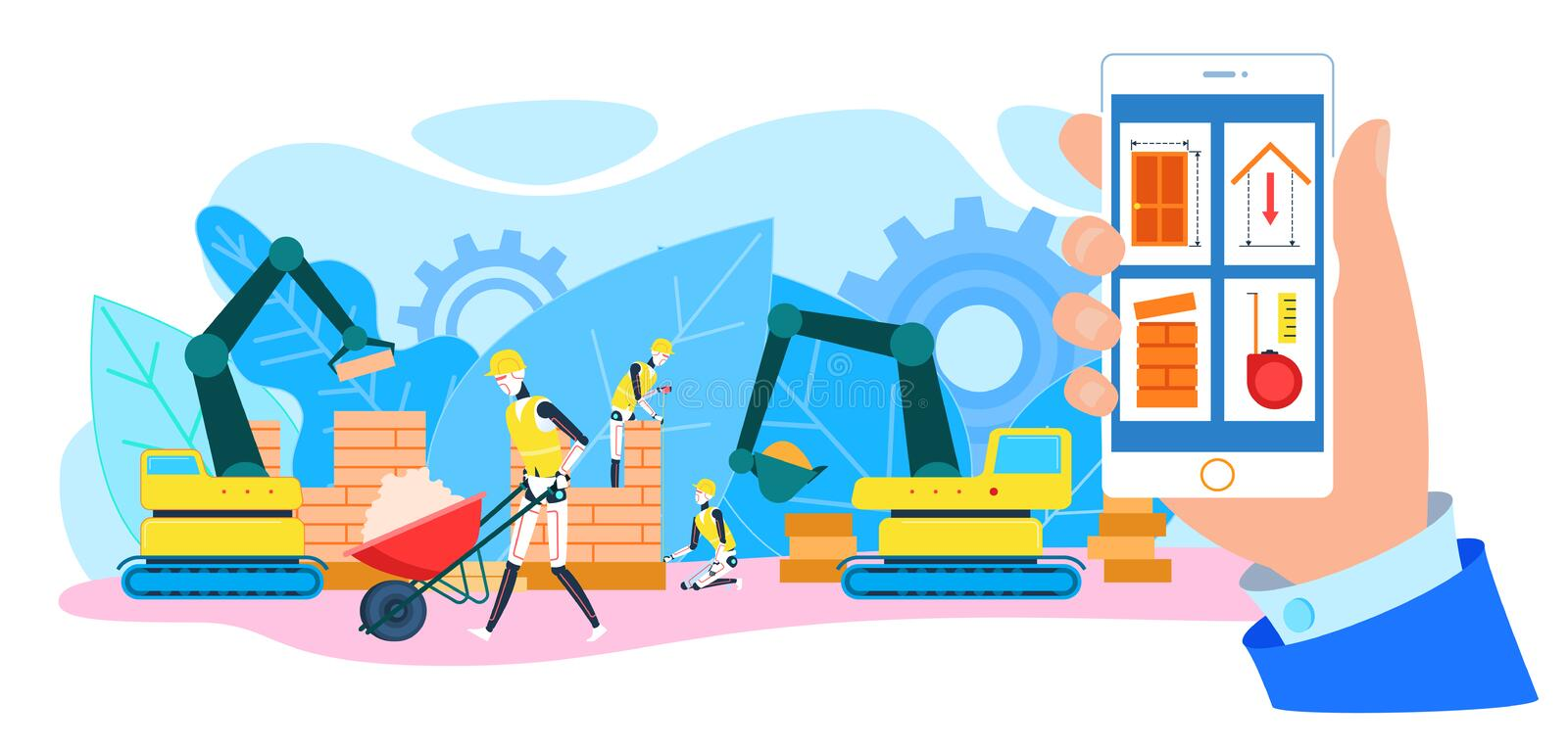 Remote Control Robot Builder at Construction Site. Robot Builders at Construction Site. Human Hand with Smartphone. Remote Control. Service Robots Helpers stock illustration