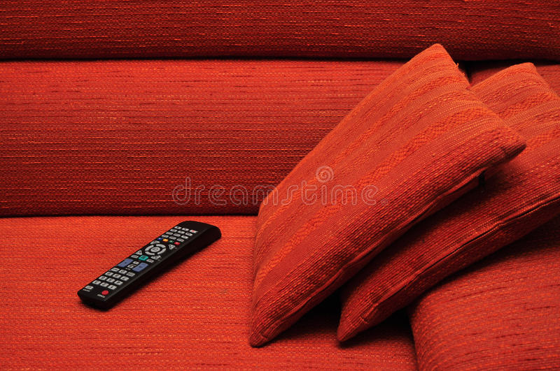 Remote Control On Sofa Royalty Free Stock Image