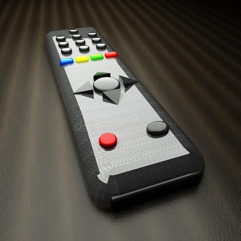 Remote control for tv over wooden table royalty free stock photo