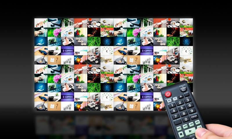 Remote control with virtual multimedia screen stock photography