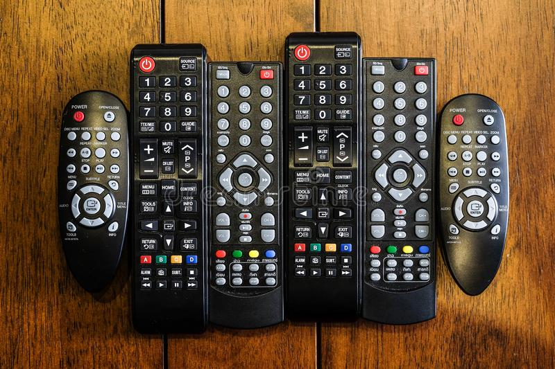 TV remote controls electronic devices royalty free stock photography