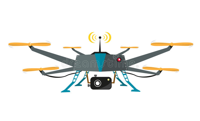 Remote Controlled Drone with Camera Vector. Flat Design. Flat illustration of a drone chopper with camera for aerial video shoot or photography. Vector EPS10 and