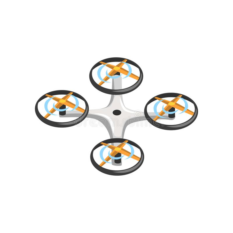 Remote controlled drone with four orange propellers and gray body. Flat vector icon of quadrocopter. Flying device vector illustration