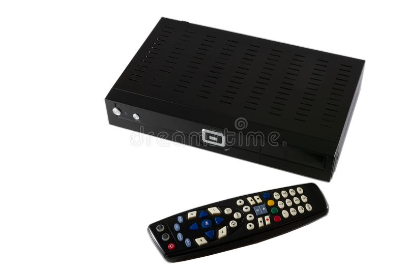 Remote controller and Receiver for Satellite and IP TV STB iso. Lated on white background- top view royalty free stock images