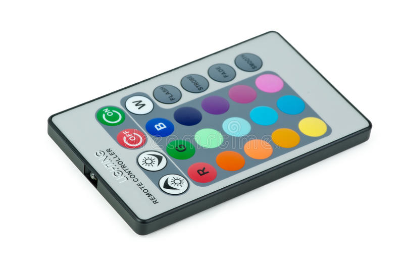 Remote controller for RGB LED lamp. Isolated on the white background royalty free stock images