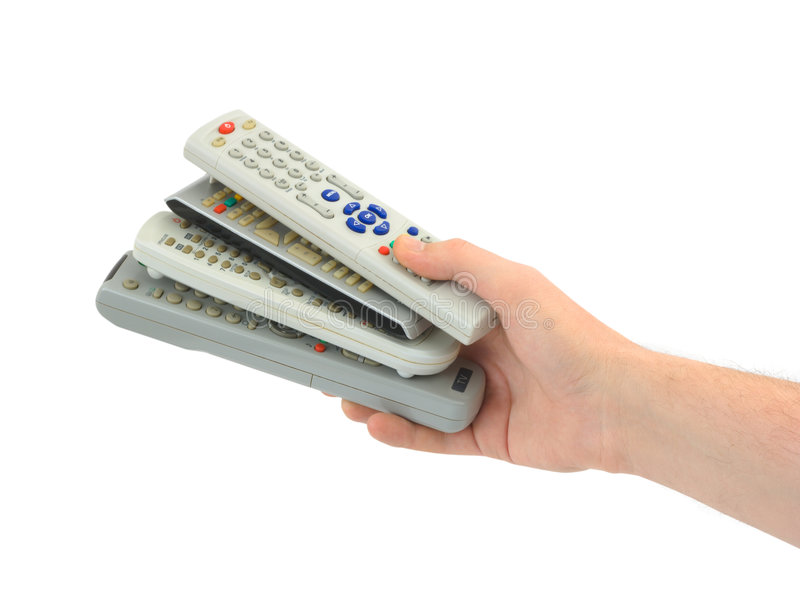 Remote controls in hand stock photography
