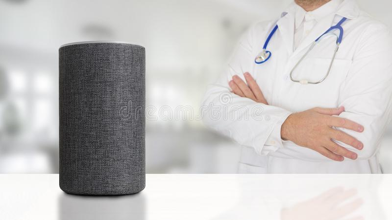 Remote doctor and pharmacist connected remote by a personal assistant loudspeaker. Empty copy space stock photography