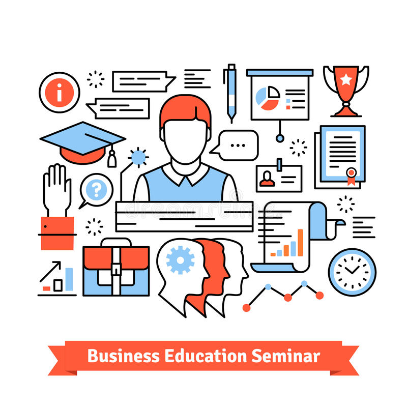 Remote education business seminar background. Thin line art flat illustration with icons vector illustration