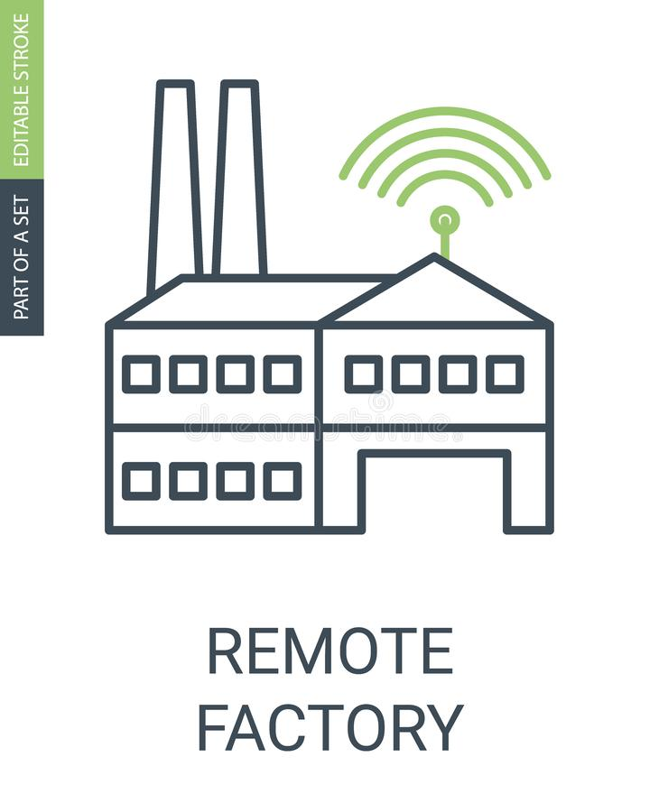 Remote Factory Icon with Editable Stroke and Outline style stock illustration
