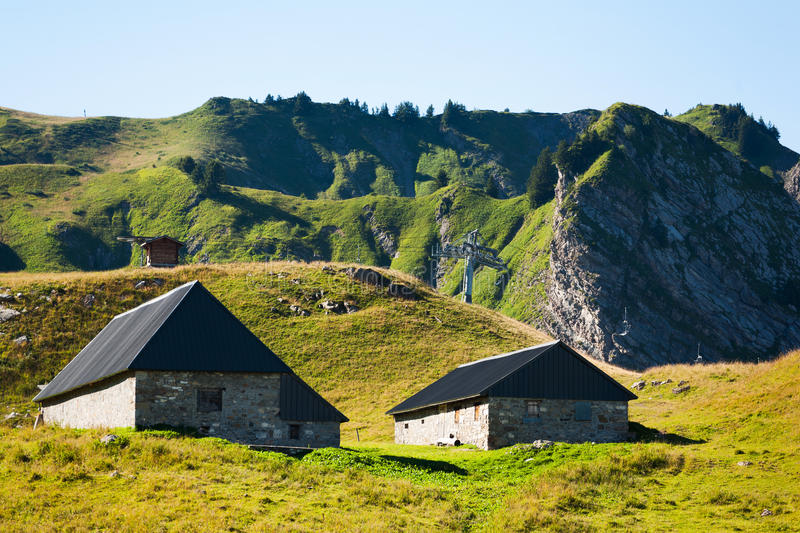 Remote houses on mountain stock image