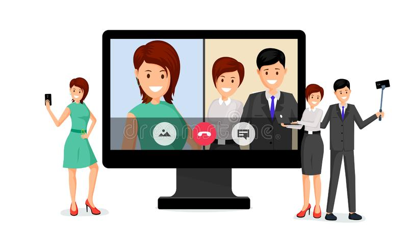 Remote job interview vector illustration. Cheerful woman holding smartphone and businessman with secretary cartoon characters. Distant employment discussion stock illustration