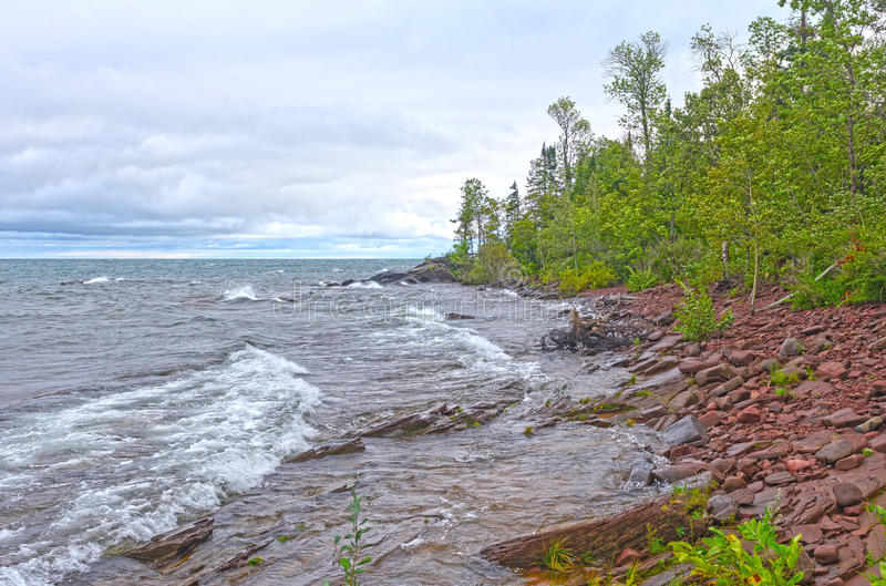 Remote Lake Shore in the Wilderness. Remote Lake Superior Shore in the Wilderness of Porcupine Mountains State Park in MIchigan royalty free stock photography