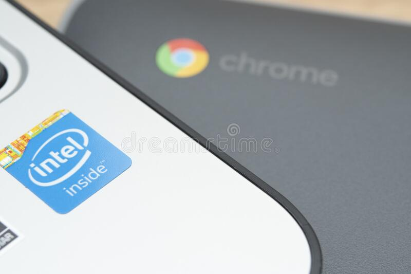 Remote Learning on a Chromebook at Home stock photos