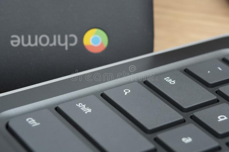 Remote Learning on a Chromebook at Home stock photography