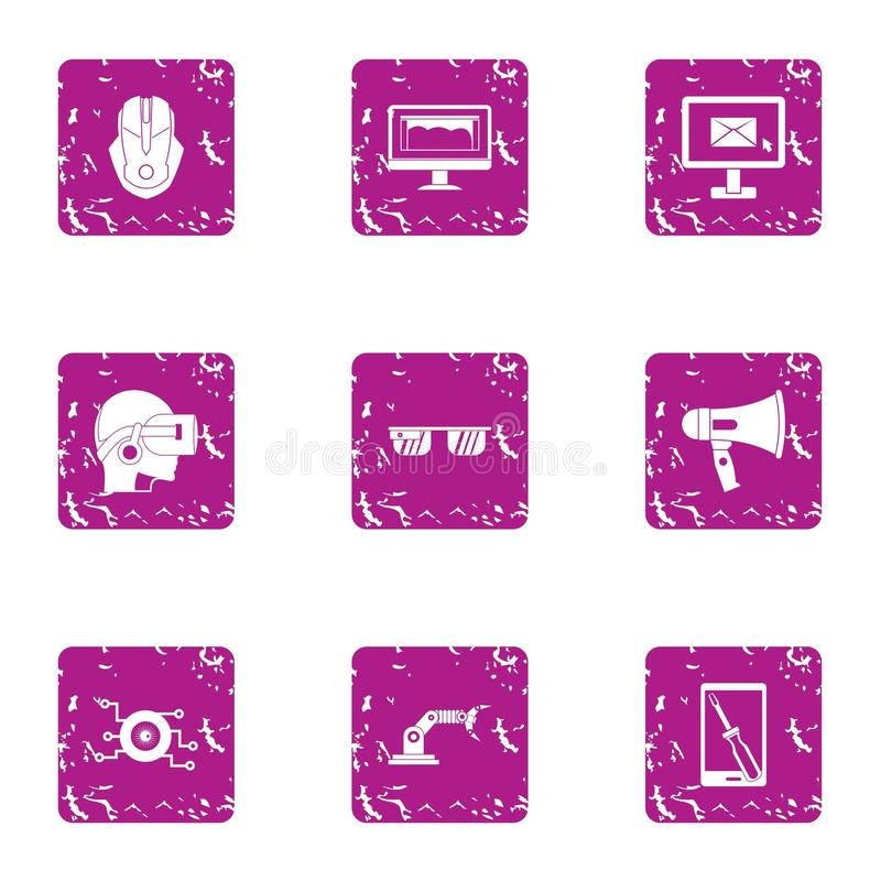 Remote manipulation icons set, grunge style. Remote manipulation icons set. Grunge set of 9 remote manipulation vector icons for web isolated on white background royalty free illustration