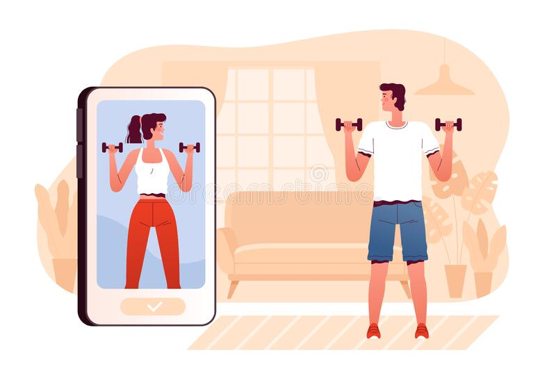 Remote online training. A young man plays sports at home in the living room. The guy looks at the trainer on the phone. And lifts dumbbells. Vector illustration vector illustration