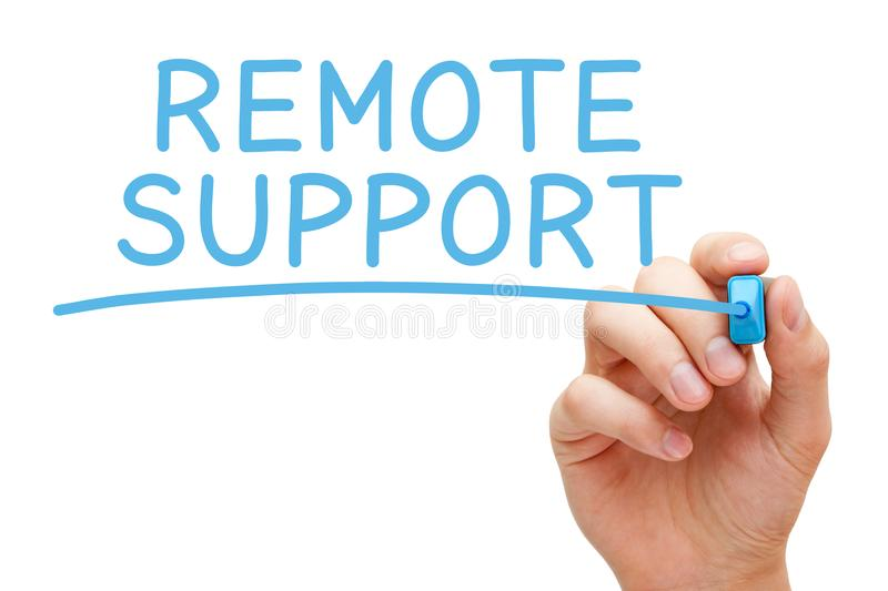 Remote Support Handwritten Blue Marker royalty free stock images