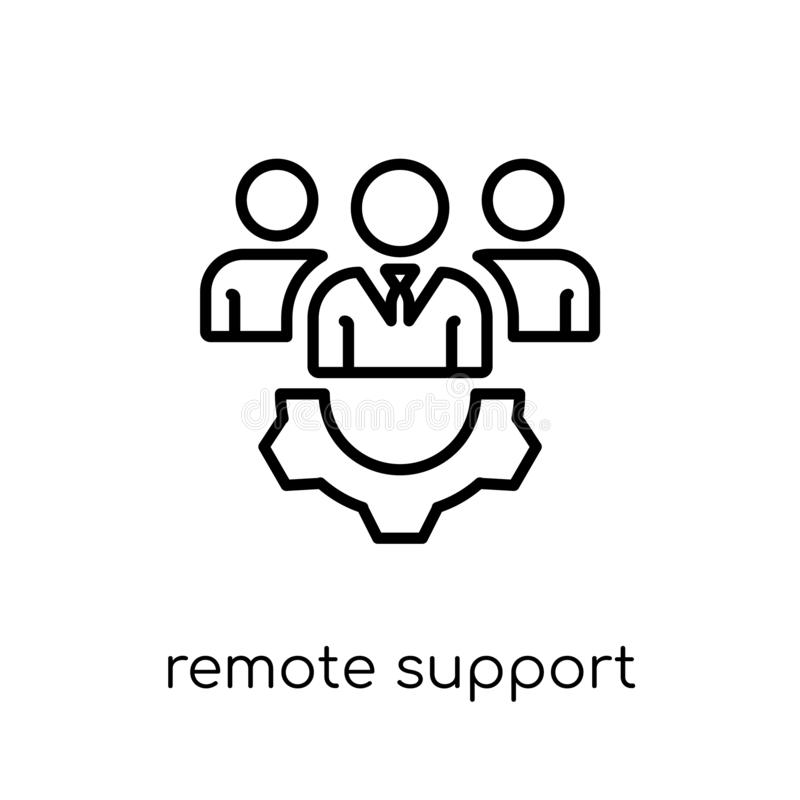 remote support icon. Trendy modern flat linear vector remote sup vector illustration